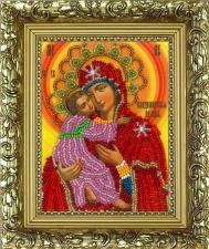 Владимирская икона Божией Матери. Размер - 9,5 х 12,5 см.
