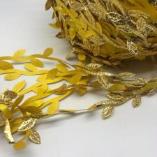Декоративная тесьма с листочками,золото,длина 10 м