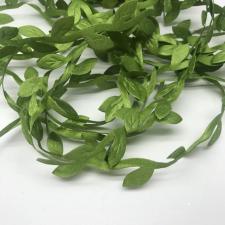 Декоративная тесьма с листочками,зелёный,10 м