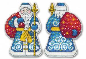 """Набор для вышивания на пластиковой канве """"Дед Мороз"""". Размер - 9 х 12,8 см."""