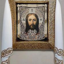 Образа в каменьях | Рушник золотой (большой). Размер - 50 х 220 см.