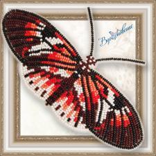 """Набор для вышивки бисером на прозрачной основе """"Бабочка """"Геликония Фортепиано"""""""""""