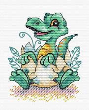 """Набор для вышивания крестиком ТМ """"Жар-Птица"""" """"Малыш динозавр"""". Размер - 8 х 10 см."""