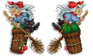 "ТМ Жар-птица | Набор для вышивания на пластиковой канве ""Бабушка Яга"". Размер - 12 х 16 см."