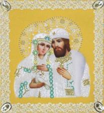 Картины бисером | Святые Пётр и Феврония (золото,ажур). Размер - 21 х 23 см.