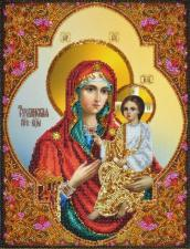 Картины бисером | Тихвинская икона Божией Матери. Размер - 25 х 33 см.
