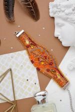 """Набор для вышивки бисером украшение-браслет на натуральном художественном холсте """"Осеннее золото"""""""
