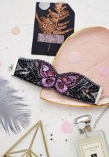 """Набор для вышивки бисером украшение-браслет на натуральном художественном холсте """"Лиловый взмах"""""""