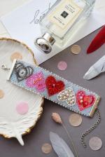 """Набор для вышивки бисером украшение-браслет на натуральном художественном холсте """"Дела сердечные"""""""