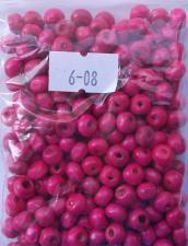Деревянные бусины 6мм (20 г),цвет №08 (розовый)