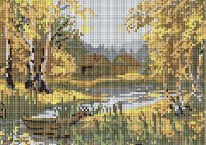 """Мозаичная картина """"Золотой сентябрь"""". Размер - 36 х 25 см."""