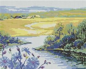 "Мозаичная картина ""Река и поле"". Размер - 43 х 35 см."