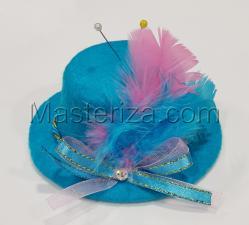 """Игольница """"Шляпка с перьями"""",цвет голубой,размер - 10,5х10,5х5 см"""