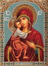Радуга бисера (Кроше) | Богородица Фёдоровская. Размер - 19 х 27 см.