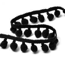 Тесьма с помпонами арт.TBY-TP-20 шир.15-20мм цв.F322 (031) чёрный