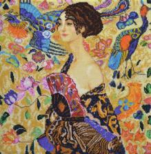 """Набор для вышивания бисером """"Дама с веером"""" (по мотивам картины Г.Климта). Размер - 40 х 41 см."""