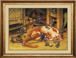 """Набор для вышивания нитками """"Купание рыжего кота"""". Размер - 39 х 29 см."""