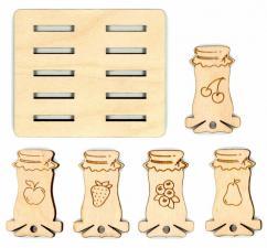 """Бобины для ниток """"Банки варенья"""" набор 10 шт (5 видов по 2 шт)+подставка"""