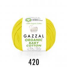 Пряжа Organic baby cotton (100% органический хлопок, 50 гр/115 м),420 жёлтый