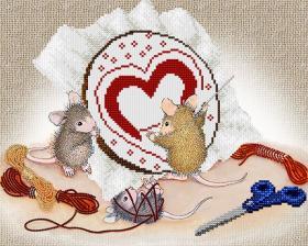 А-строчка | Мышки-рукодельницы. Размер - 32 х 26 см
