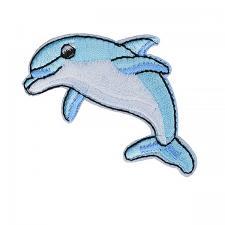 """Термоаппликация """"Дельфин"""",4,5х5,5 см,цв.белый/голубой"""