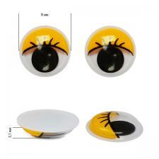 Глазки бегающие клеевые с ресницами TBY 8мм цв.жёлтый уп.2 шт
