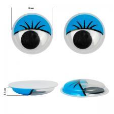 Глазки бегающие клеевые с ресницами TBY 8мм цв.синий уп.2 шт