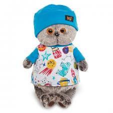 Кот Басик в футболке космос и в шапочке, мягкая игрушка BudiBasa
