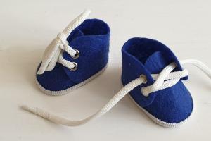 Ботиночки ручная работа,фетр, цвет синий,5 см