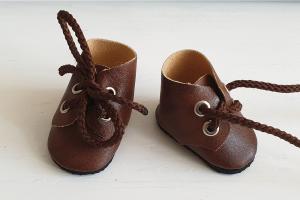 Ботиночки ручная работа,кожзам,цвет коричневый,5 см