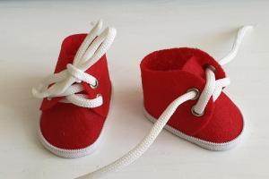 Ботиночки ручная работа,фетр,цвет красный,5 см