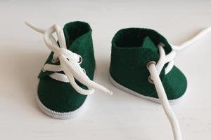 Ботиночки ручная работа,фетр,цвет зелёный,5 см