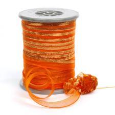 """Лента капроновая """"Розочка"""" арт.с3561г17 рис.8422 с метанитом шир. 10 мм цв.оранжевый-золото"""