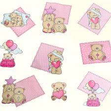 Ткань ранфорс Мишутки, 130г/м²,100% хлопок, шир.240см, цв.розовый, рул.3м