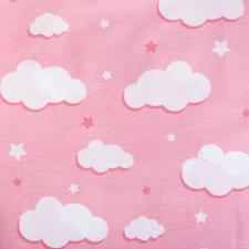 Ткань ранфорс Облака, 130г/м²,100% хлопок, шир.240см, цв.розовый, рул.3м