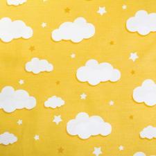 Ткань ранфорс Облака, 130г/м²,100% хлопок, шир.240см, цв.желтый, рул.3м