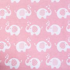 Ткань ранфорс Слоники, 130г/м²,100% хлопок, шир.240см, цв.розовый, рул.3м