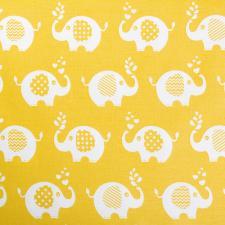 Ткань ранфорс Слоники, 130г/м²,100% хлопок, шир.240см, цв.желтый, рул.3м