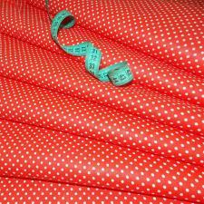 Ткань хлопок Горошек мелкий, 120г/м², 100% хлопок, шир.150см, цв.05 красный уп.3м