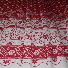 Ткань лён Народный, 140г/м², 30% лён + 70% хлопок, шир.150см, цв.02 красный/белый уп.3м