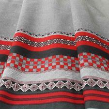 Ткань лён Старорусский, 140г/м², 30% лён + 70% хлопок, шир.150см, цв.02 серо-красный уп.3м