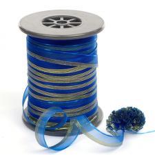 """Лента капроновая """"Розочка"""" арт.с3561г17 рис.8422 с метанитом шир. 10 мм цв.синий-золото"""