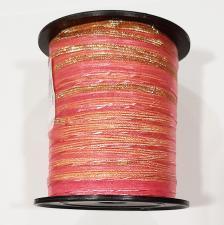 "Лента капроновая ""Розочка"" арт.с3561г17 рис.8422 с метанитом шир. 10 мм цв.св.розовый-золото"