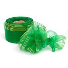"""Лента капроновая """"Розочка"""" арт.с3562г17 рис.8450 с метанитом шир. 30 мм цв.зелёный-золото"""