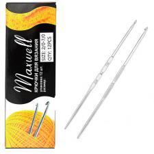 Крючок для вязания Maxwell №2/0-7/0 двусторонний 2,1 мм- 3,2 мм цв.никель