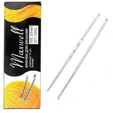 Крючок для вязания Maxwell №3/0-6/0 двусторонний 2,3 мм- 3,0 мм цв.никель