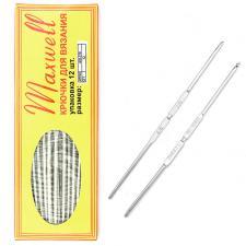 Крючок для вязания Maxwell №4/0-7/0 двусторонний 2,5 мм- 3,2 мм цв.никель