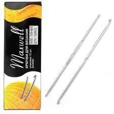 Крючок для вязания Maxwell №7/0-8/0 двусторонний 3,2 мм- 3,5 мм цв.никель