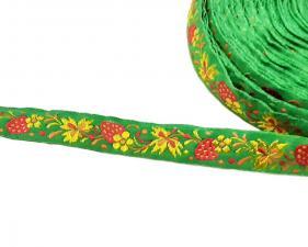 Лента отделочная жаккардовая арт.с1851г17 рис.9303 шир. 18мм цв. зелёный