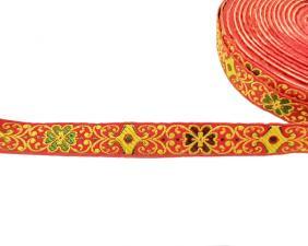 Лента отделочная жаккардовая арт.с1851г17 рис.9303 шир. 18мм цв. оранжевый